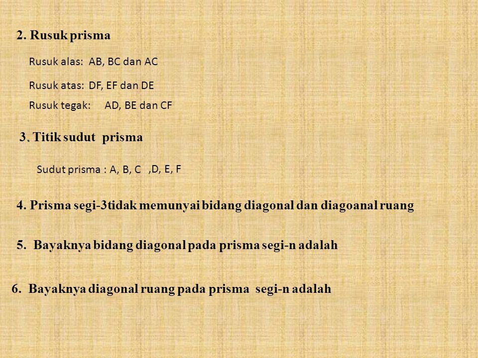 2. Rusuk prisma Rusuk alas: Rusuk atas: Rusuk tegak: AB, BC dan AC DF, EF dan DE AD, BE dan CF 3. T itik sudut prisma Sudut prisma : A, B, C,D, E, F 4