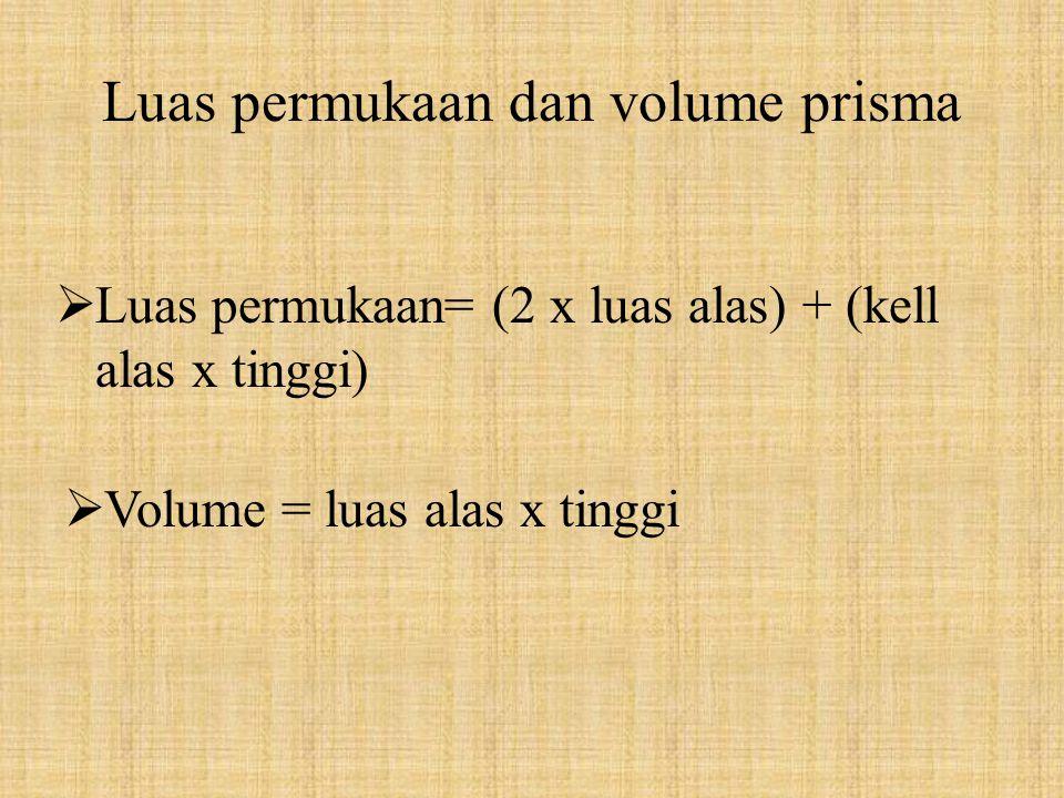 Luas permukaan dan volume prisma LL uas permukaan= (2 x luas alas) + (kell alas x tinggi) VV olume = luas alas x tinggi