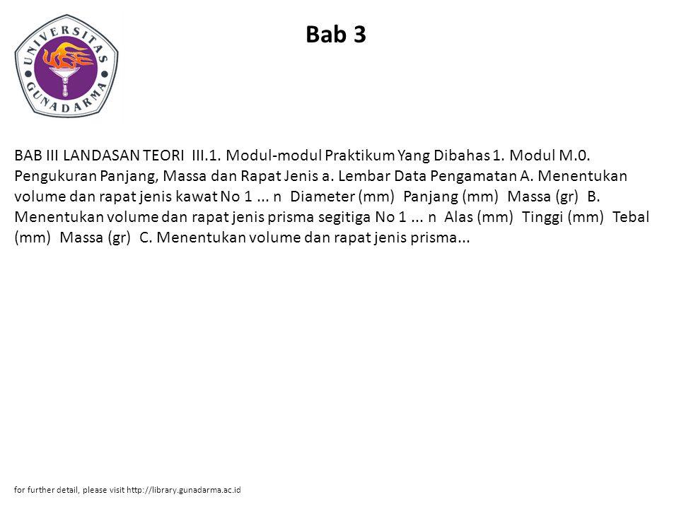 Bab 3 BAB III LANDASAN TEORI III.1. Modul-modul Praktikum Yang Dibahas 1. Modul M.0. Pengukuran Panjang, Massa dan Rapat Jenis a. Lembar Data Pengamat