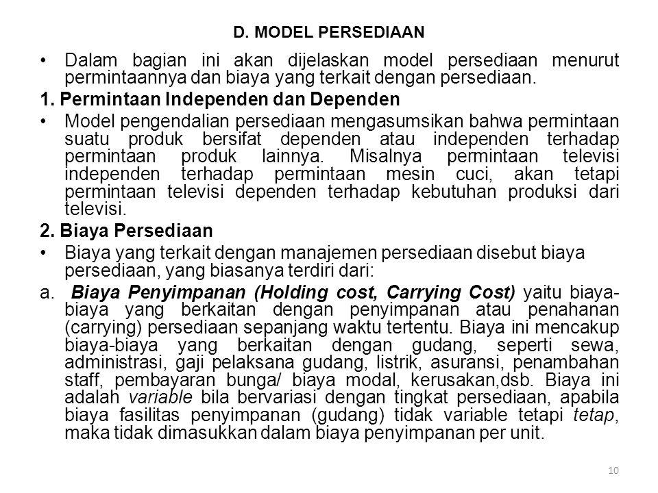 10 D. MODEL PERSEDIAAN Dalam bagian ini akan dijelaskan model persediaan menurut permintaannya dan biaya yang terkait dengan persediaan. 1. Permintaan