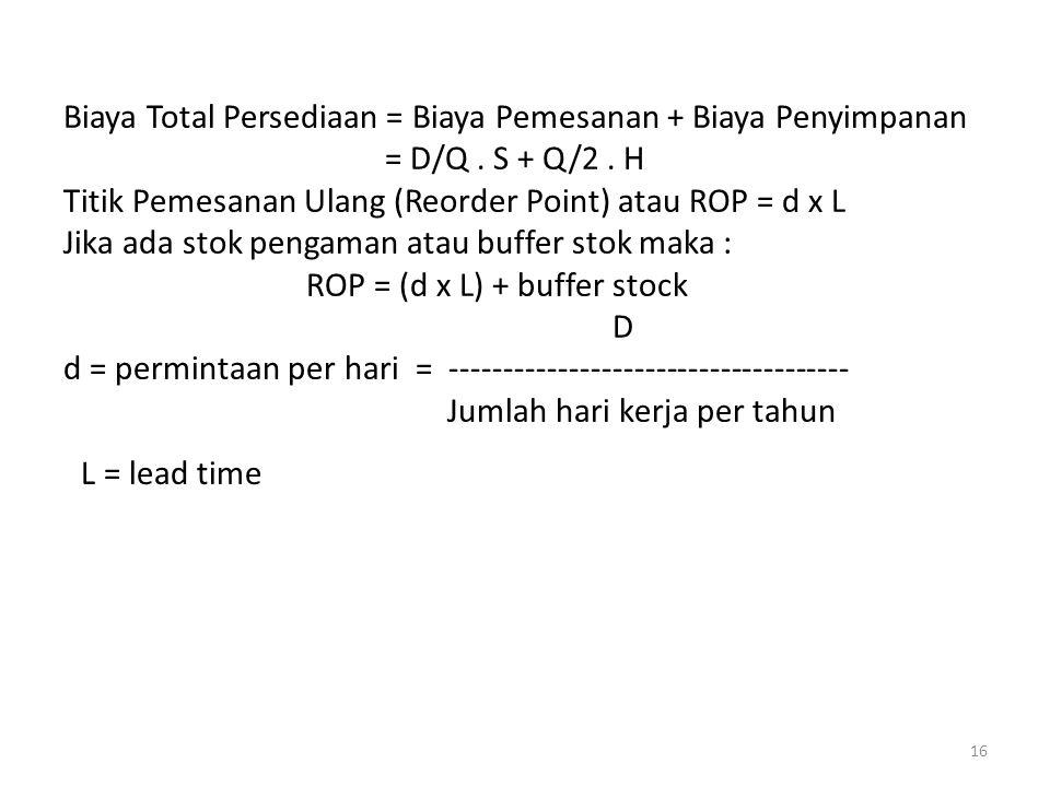 16 Biaya Total Persediaan = Biaya Pemesanan + Biaya Penyimpanan = D/Q. S + Q/2. H Titik Pemesanan Ulang (Reorder Point) atau ROP = d x L Jika ada stok