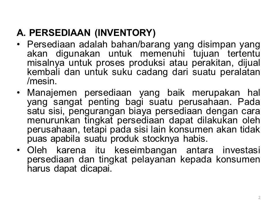 2 A. PERSEDIAAN (INVENTORY) Persediaan adalah bahan/barang yang disimpan yang akan digunakan untuk memenuhi tujuan tertentu misalnya untuk proses prod