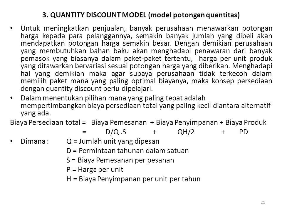 21 3. QUANTITY DISCOUNT MODEL (model potongan quantitas) Untuk meningkatkan penjualan, banyak perusahaan menawarkan potongan harga kepada para pelangg