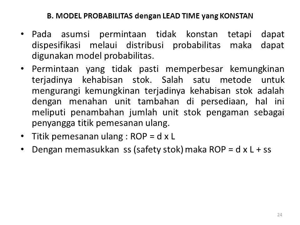 24 B. MODEL PROBABILITAS dengan LEAD TIME yang KONSTAN Pada asumsi permintaan tidak konstan tetapi dapat dispesifikasi melaui distribusi probabilitas