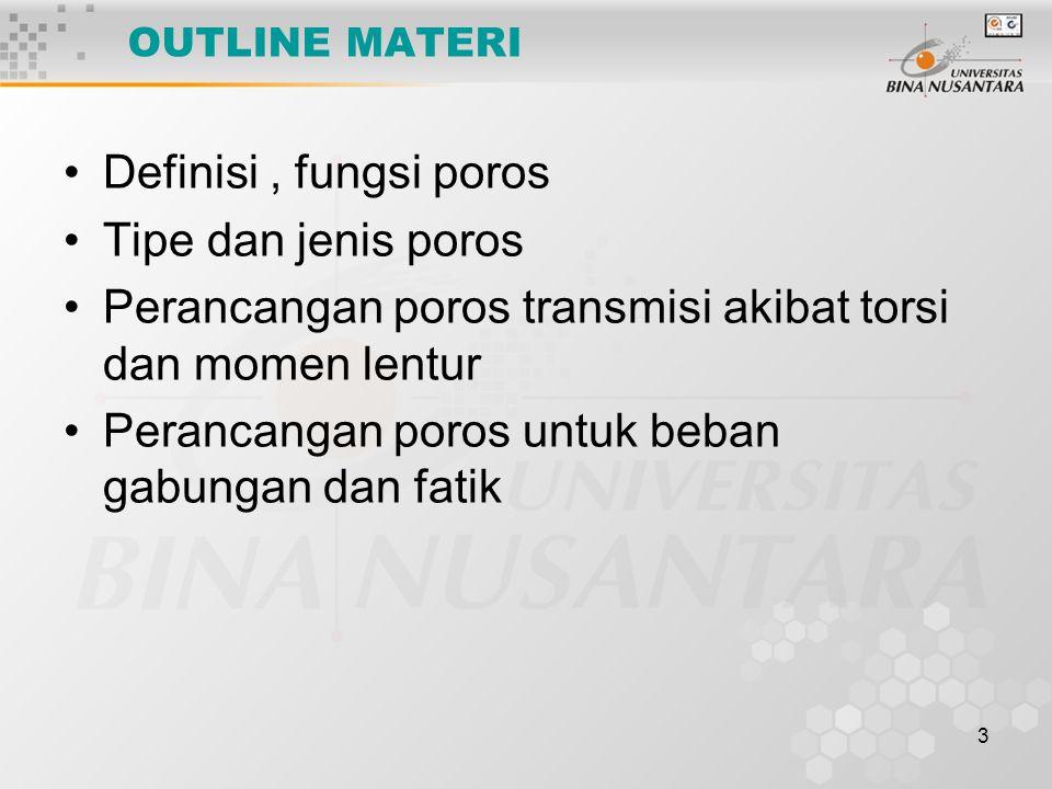 3 OUTLINE MATERI Definisi, fungsi poros Tipe dan jenis poros Perancangan poros transmisi akibat torsi dan momen lentur Perancangan poros untuk beban g