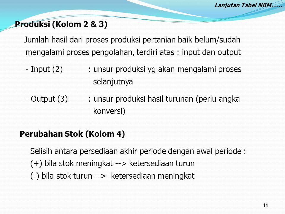 Produksi (Kolom 2 & 3) Jumlah hasil dari proses produksi pertanian baik belum/sudah mengalami proses pengolahan, terdiri atas : input dan output - Inp