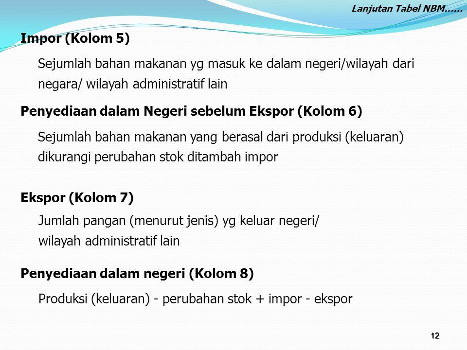 Impor (Kolom 5) Sejumlah bahan makanan yg masuk ke dalam negeri/wilayah dari negara/ wilayah administratif lain Penyediaan dalam Negeri sebelum Ekspor