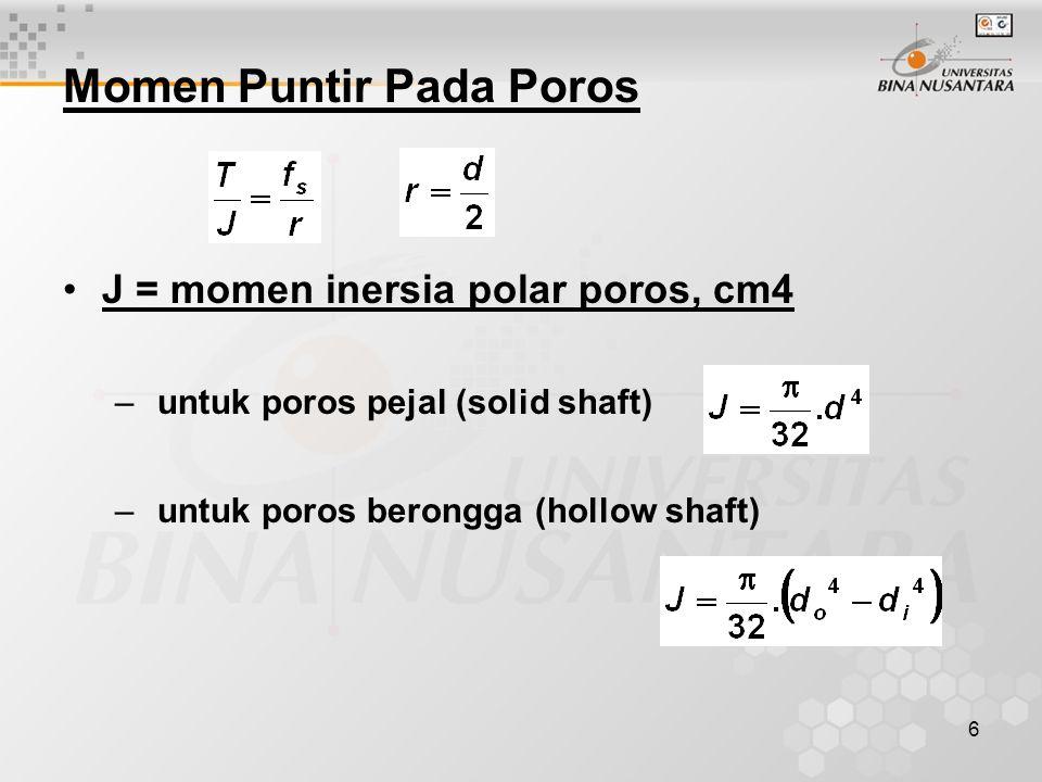 7 T = momen puntir yang bekerja pada poros Kg-cm –untuk poros pejal – Untuk poros berongga –Cara lain menetapkan Momen puntir berdasarkan tenaga P = daya (tenaga), h.p N = kecepatan putar poros (motor), rpm T = momen puntir Kg-m.