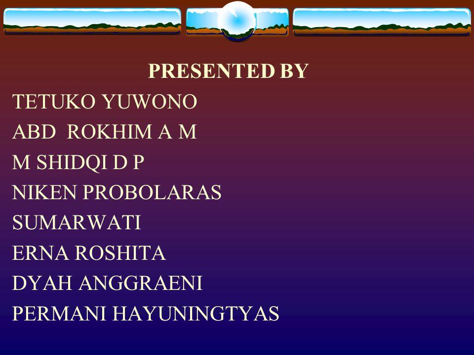 PRESENTED BY TETUKO YUWONO ABD ROKHIM A M M SHIDQI D P NIKEN PROBOLARAS SUMARWATI ERNA ROSHITA DYAH ANGGRAENI PERMANI HAYUNINGTYAS