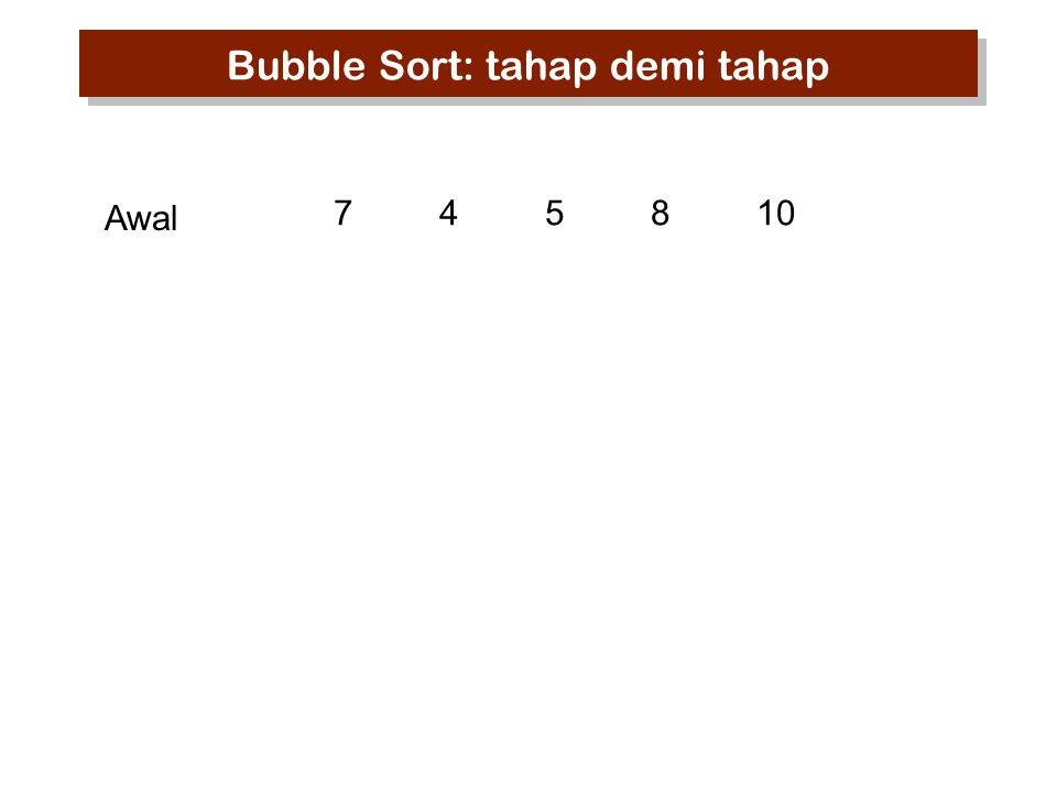 745810 Awal Bubble Sort: tahap demi tahap