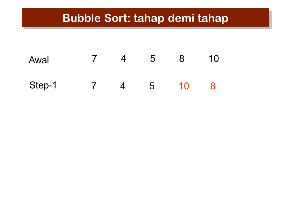 745810 74510 8 Step-1 Awal Bubble Sort: tahap demi tahap