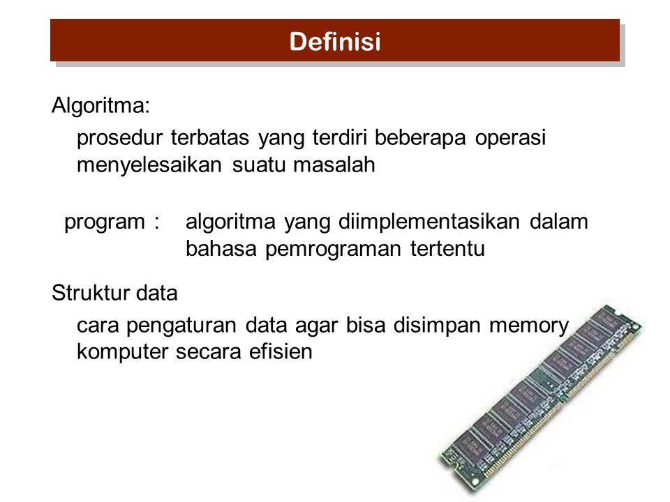 Algoritma: prosedur terbatas yang terdiri beberapa operasi menyelesaikan suatu masalah Struktur data cara pengaturan data agar bisa disimpan memory komputer secara efisien program : algoritma yang diimplementasikan dalam bahasa pemrograman tertentu Definisi