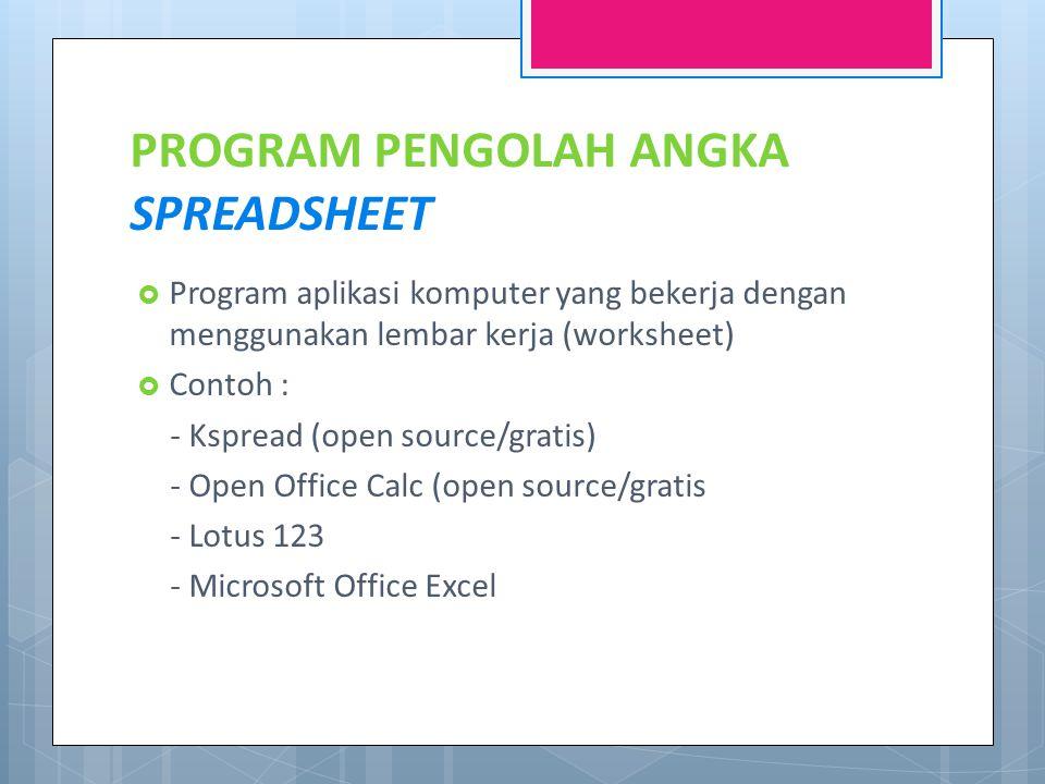 PROGRAM PENGOLAH ANGKA SPREADSHEET  Program aplikasi komputer yang bekerja dengan menggunakan lembar kerja (worksheet)  Contoh : - Kspread (open source/gratis) - Open Office Calc (open source/gratis - Lotus 123 - Microsoft Office Excel