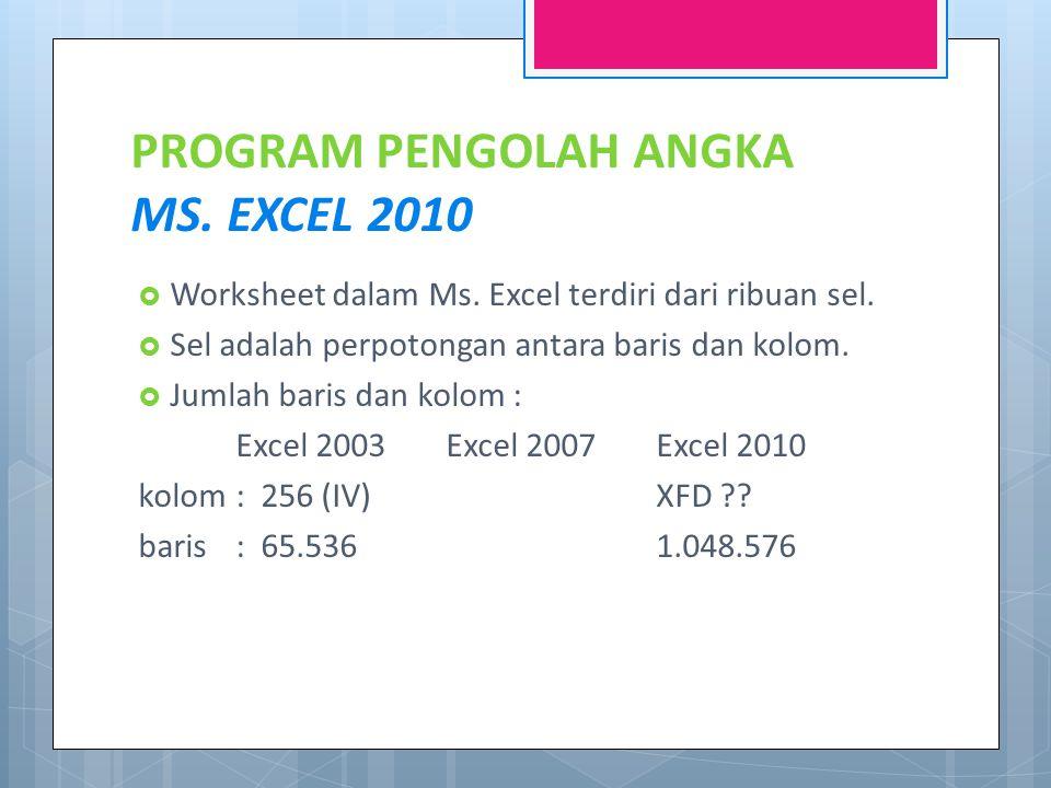PROGRAM PENGOLAH ANGKA MS.EXCEL 2010  Worksheet dalam Ms.