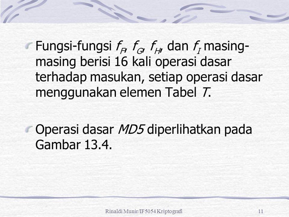 Rinaldi Munir/IF5054 Kriptografi11 Fungsi-fungsi f F, f G, f H, dan f I masing- masing berisi 16 kali operasi dasar terhadap masukan, setiap operasi d