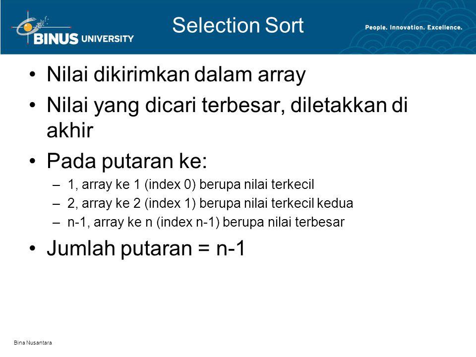 Bina Nusantara Selection Sort Nilai dikirimkan dalam array Nilai yang dicari terbesar, diletakkan di akhir Pada putaran ke: –1, array ke 1 (index 0) berupa nilai terkecil –2, array ke 2 (index 1) berupa nilai terkecil kedua –n-1, array ke n (index n-1) berupa nilai terbesar Jumlah putaran = n-1
