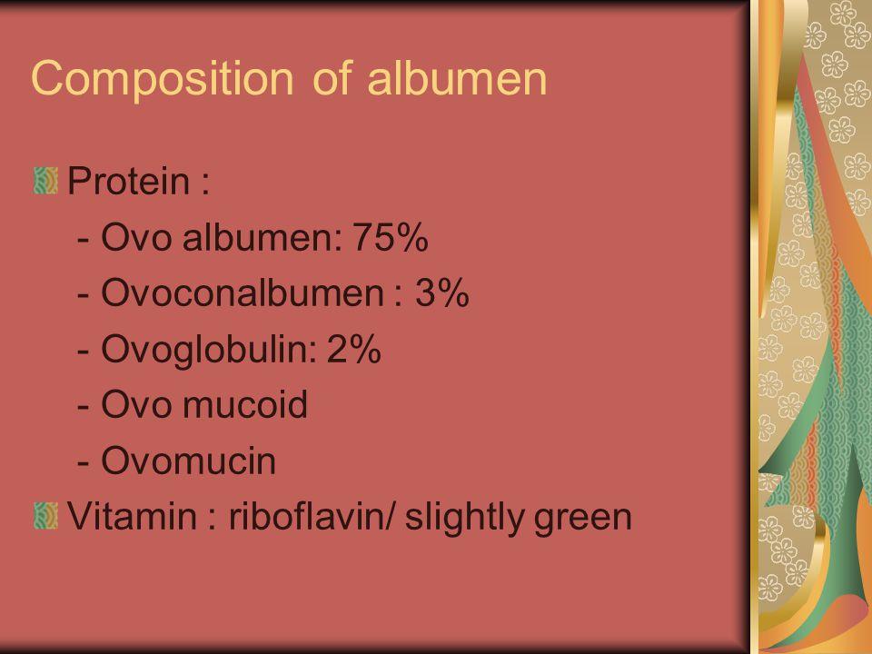 Composition of albumen Protein : - Ovo albumen: 75% - Ovoconalbumen : 3% - Ovoglobulin: 2% - Ovo mucoid - Ovomucin Vitamin : riboflavin/ slightly gree