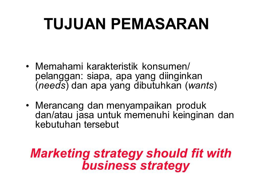 TUJUAN PEMASARAN Memahami karakteristik konsumen/ pelanggan: siapa, apa yang diinginkan (needs) dan apa yang dibutuhkan (wants) Merancang dan menyampaikan produk dan/atau jasa untuk memenuhi keinginan dan kebutuhan tersebut Marketing strategy should fit with business strategy