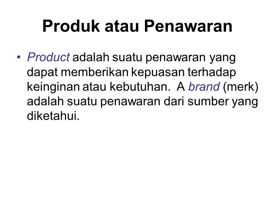 Produk atau Penawaran Product adalah suatu penawaran yang dapat memberikan kepuasan terhadap keinginan atau kebutuhan.