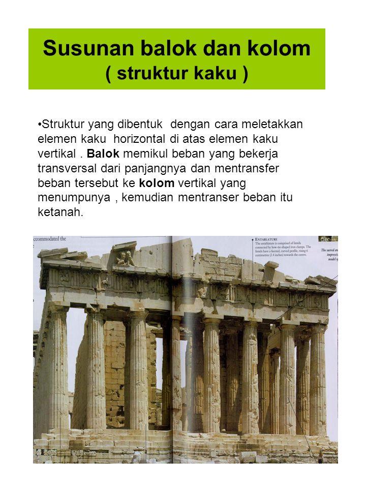 Susunan balok dan kolom ( struktur kaku ) Struktur yang dibentuk dengan cara meletakkan elemen kaku horizontal di atas elemen kaku vertikal. Balok mem