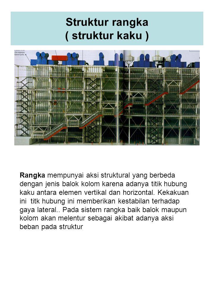 Struktur rangka ( struktur kaku ) Rangka mempunyai aksi struktural yang berbeda dengan jenis balok kolom karena adanya titik hubung kaku antara elemen