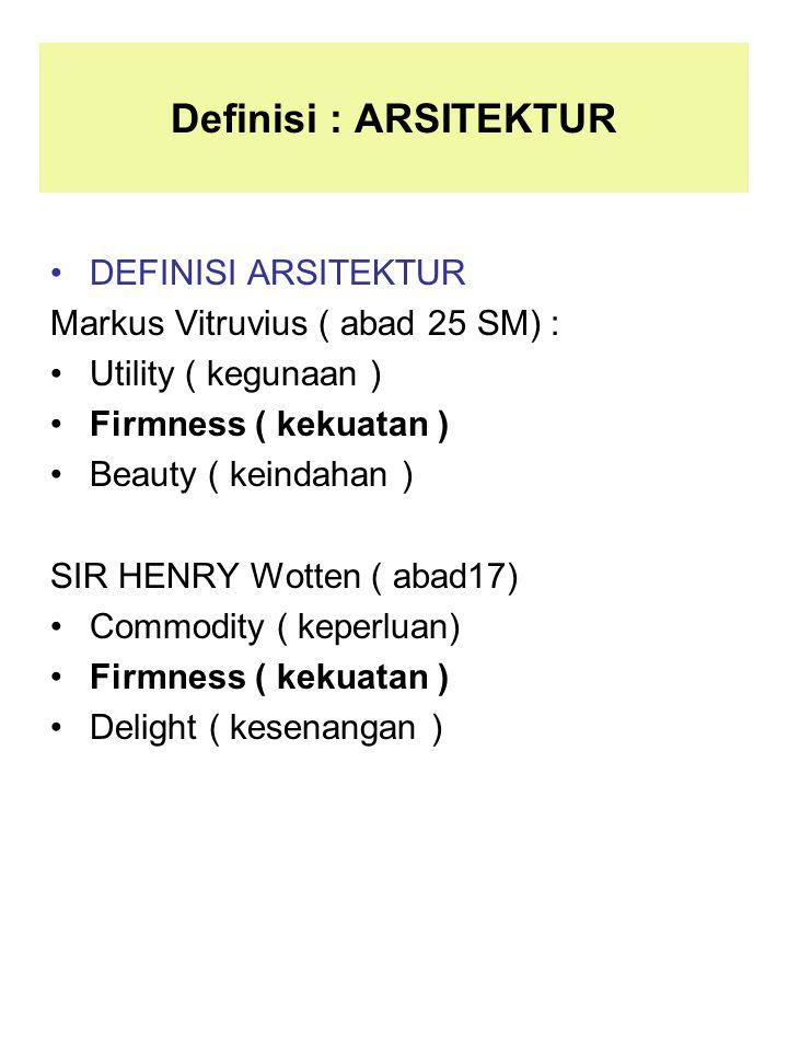 Definisi : ARSITEKTUR DEFINISI ARSITEKTUR Markus Vitruvius ( abad 25 SM) : Utility ( kegunaan ) Firmness ( kekuatan ) Beauty ( keindahan ) SIR HENRY W