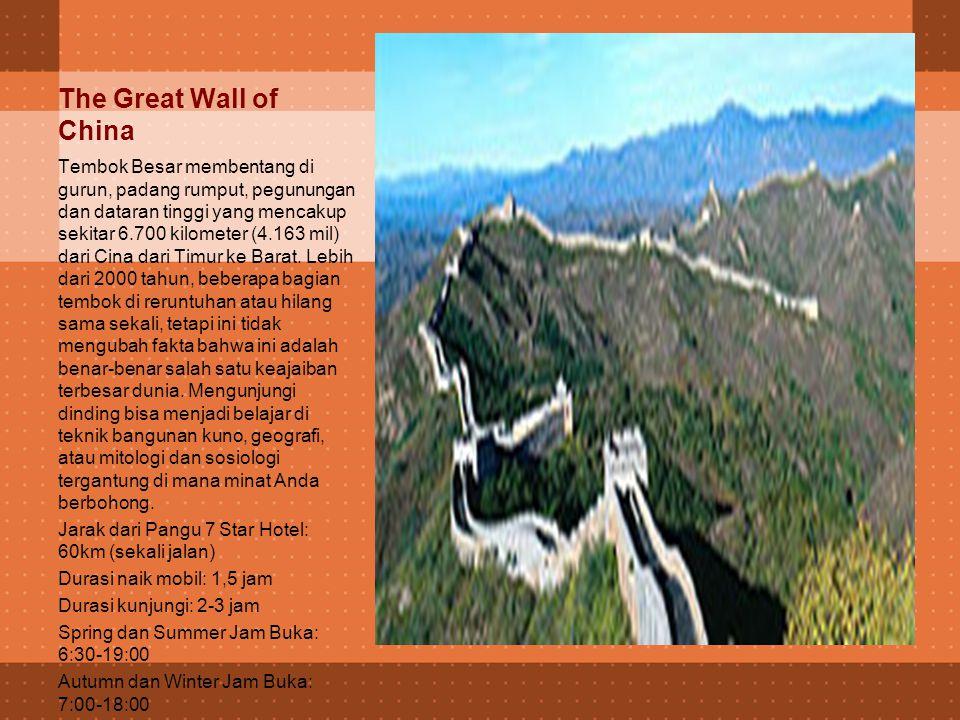 Beijing attraction banyak lingkungan Beijing fitur yang mengesankan berbagai arsitektur kekaisaran dan modern dan peluang yang besar untuk mengeksplorasi budaya Cina.