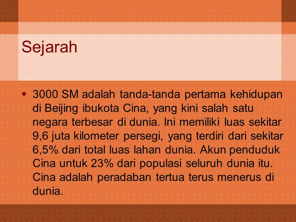 Sejarah  3000 SM adalah tanda-tanda pertama kehidupan di Beijing ibukota Cina, yang kini salah satu negara terbesar di dunia.