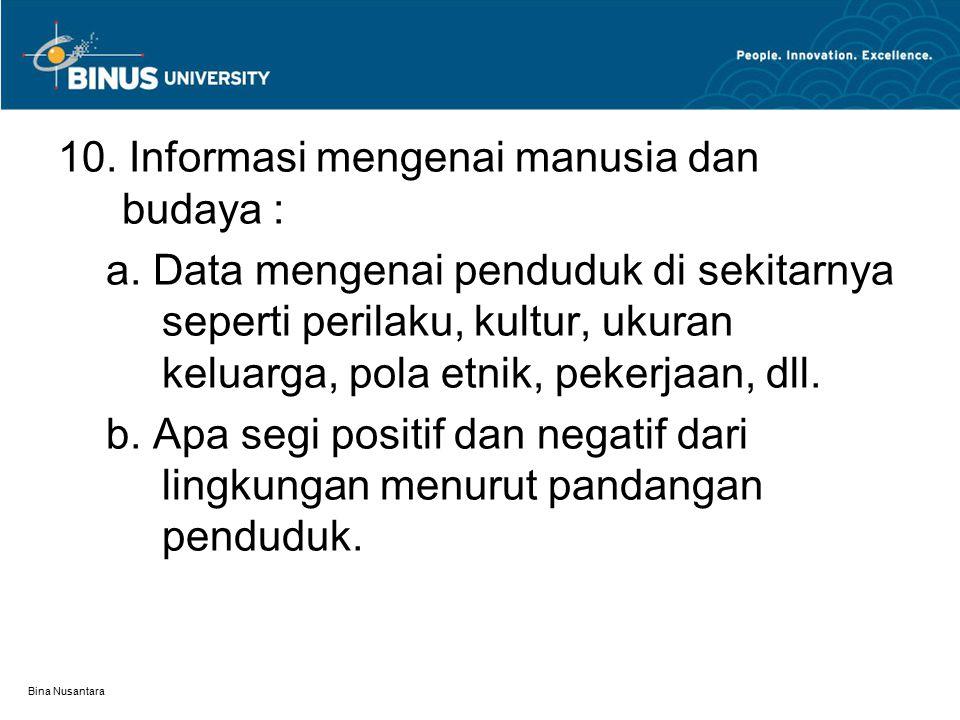 Bina Nusantara 10. Informasi mengenai manusia dan budaya : a. Data mengenai penduduk di sekitarnya seperti perilaku, kultur, ukuran keluarga, pola etn