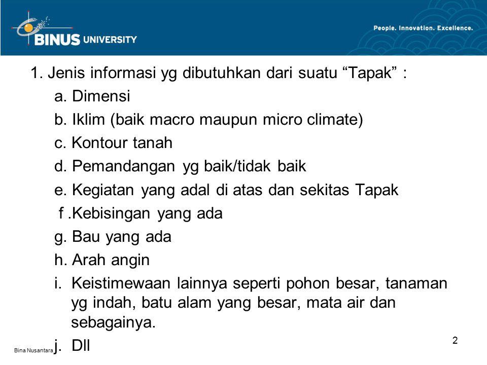 """Bina Nusantara 2 1. Jenis informasi yg dibutuhkan dari suatu """"Tapak"""" : a. Dimensi b. Iklim (baik macro maupun micro climate) c. Kontour tanah d. Peman"""