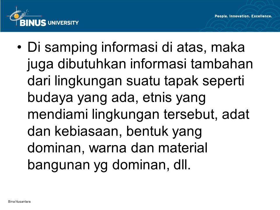 Bina Nusantara Di samping informasi di atas, maka juga dibutuhkan informasi tambahan dari lingkungan suatu tapak seperti budaya yang ada, etnis yang m