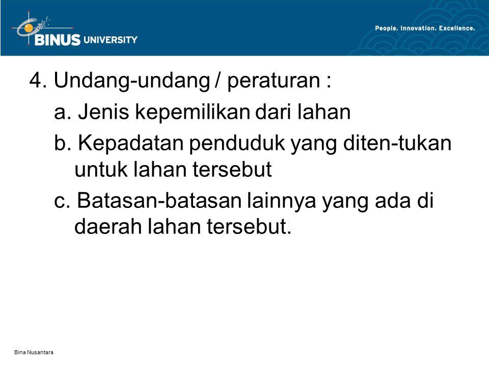 Bina Nusantara 4. Undang-undang / peraturan : a. Jenis kepemilikan dari lahan b. Kepadatan penduduk yang diten-tukan untuk lahan tersebut c. Batasan-b