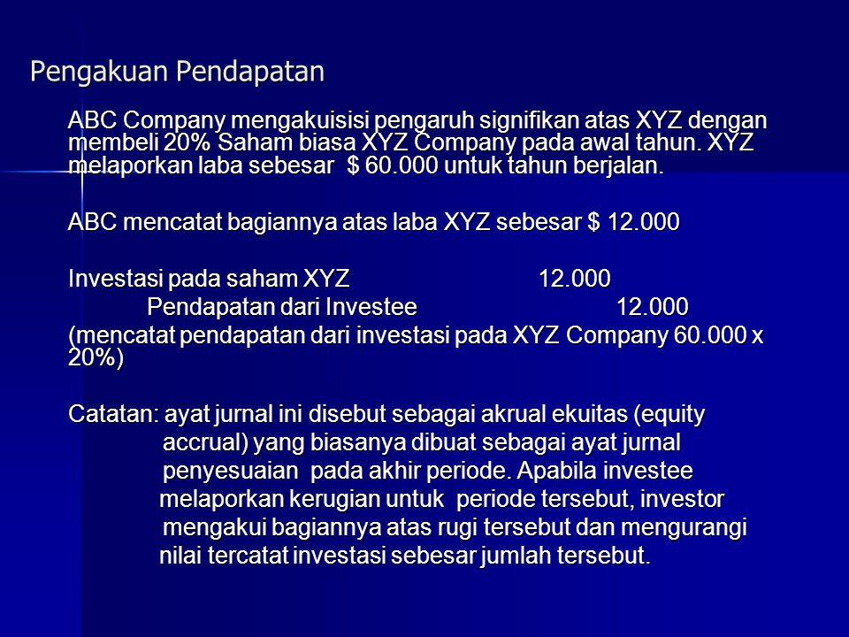 Pengakuan Pendapatan ABC Company mengakuisisi pengaruh signifikan atas XYZ dengan membeli 20% Saham biasa XYZ Company pada awal tahun.