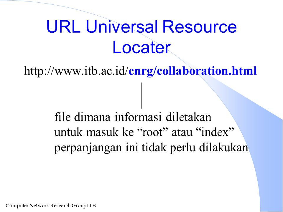 Computer Network Research Group ITB URL Universal Resource Locater http://www.itb.ac.id/cnrg/collaboration.html file dimana informasi diletakan untuk
