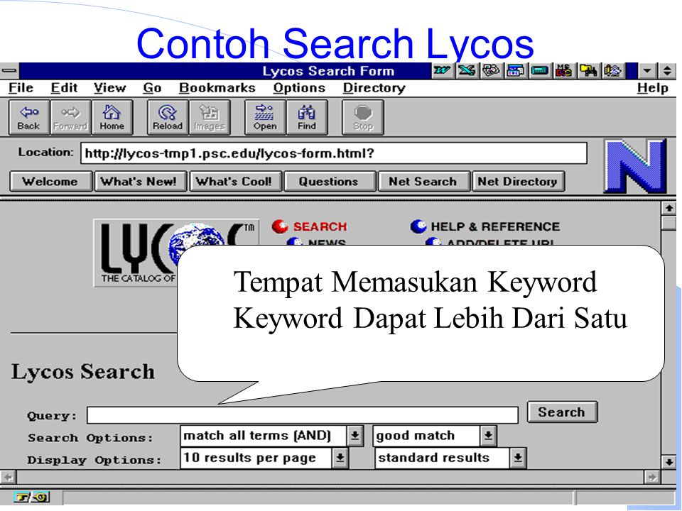 Computer Network Research Group ITB Contoh Search Lycos Tempat Memasukan Keyword Keyword Dapat Lebih Dari Satu