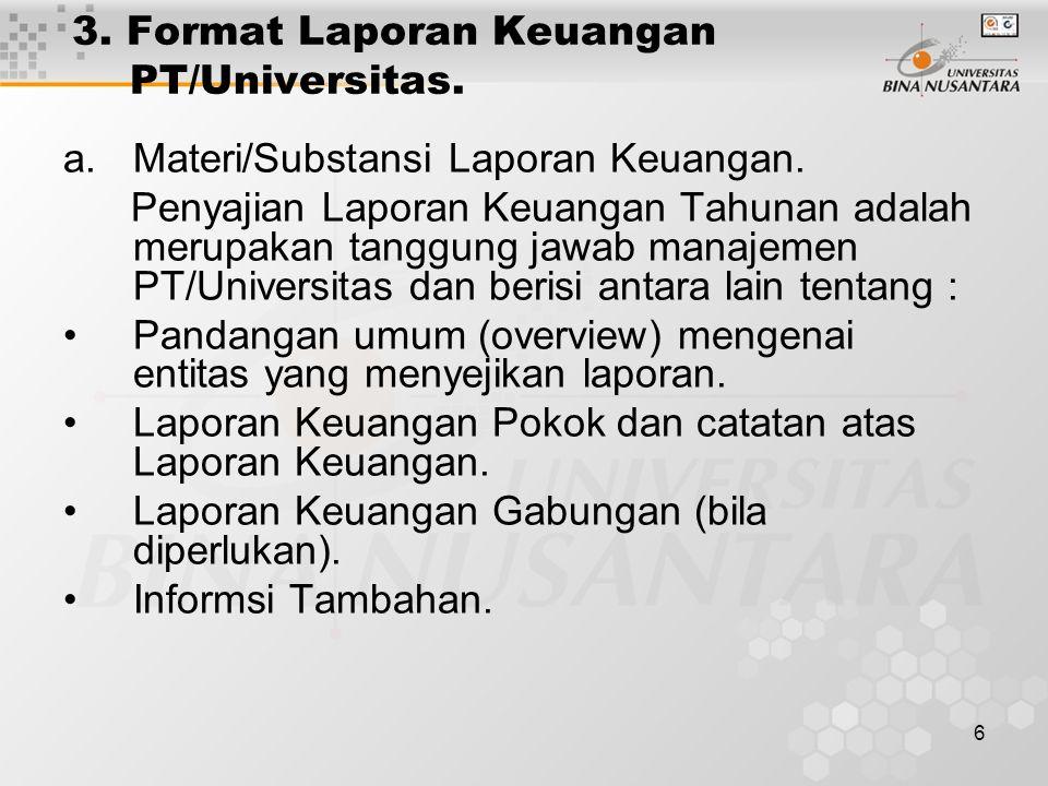 6 3. Format Laporan Keuangan PT/Universitas. a.Materi/Substansi Laporan Keuangan.
