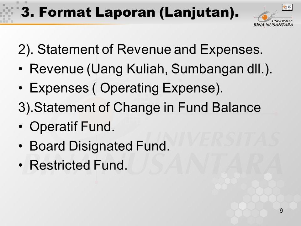 10 3.Format Laporan (Lanjutan). 4). Statement of Change in Financial Position for Year Ended Dec.