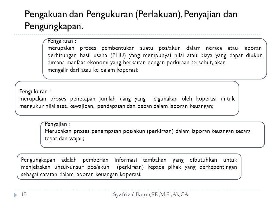 Syafrizal Ikram,SE.,M.Si,Ak,CA15 Pengakuan dan Pengukuran (Perlakuan), Penyajian dan Pengungkapan.