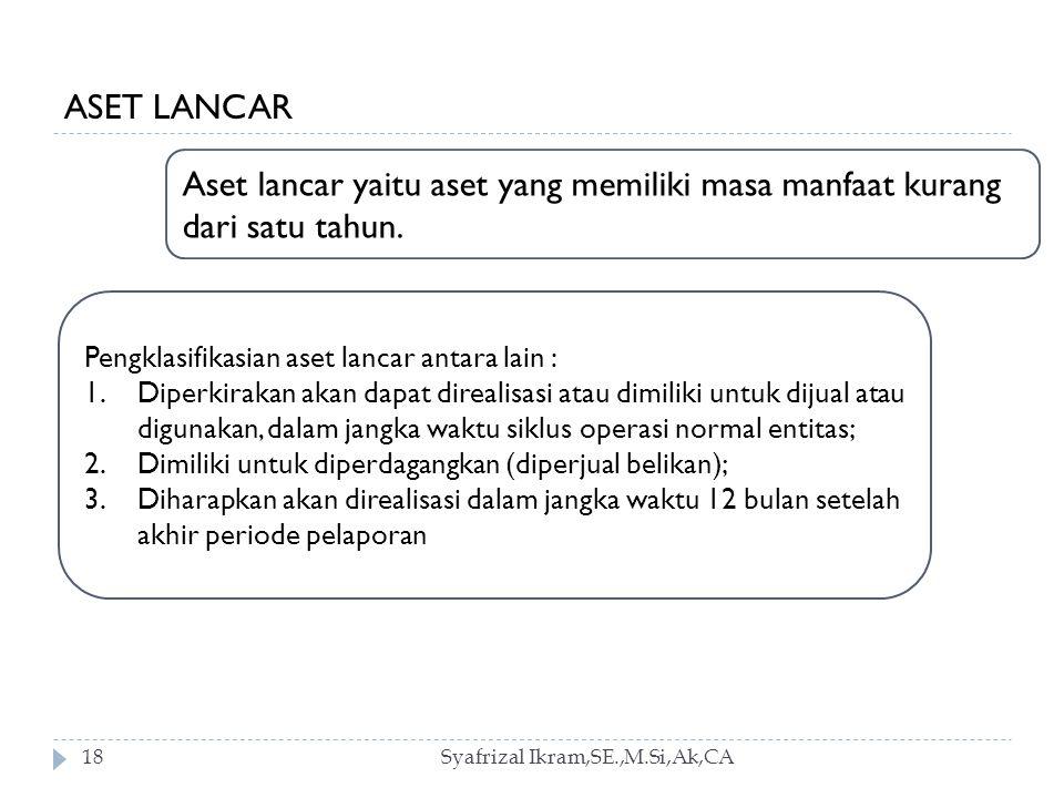 Syafrizal Ikram,SE.,M.Si,Ak,CA18 ASET LANCAR Aset lancar yaitu aset yang memiliki masa manfaat kurang dari satu tahun.