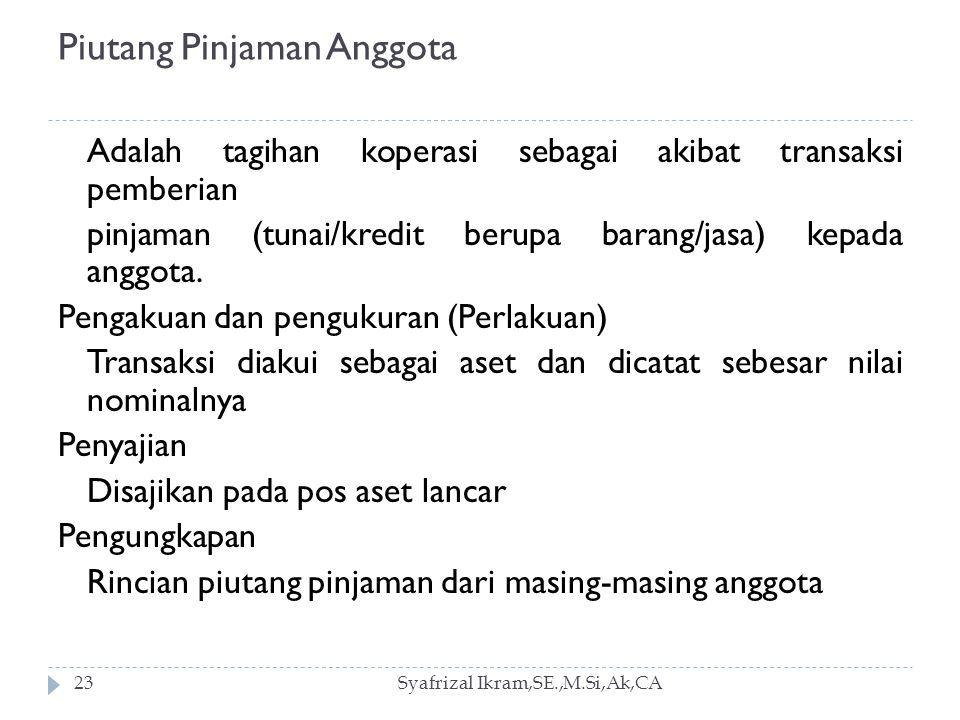 Piutang Pinjaman Anggota Syafrizal Ikram,SE.,M.Si,Ak,CA23 Adalah tagihan koperasi sebagai akibat transaksi pemberian pinjaman (tunai/kredit berupa barang/jasa) kepada anggota.