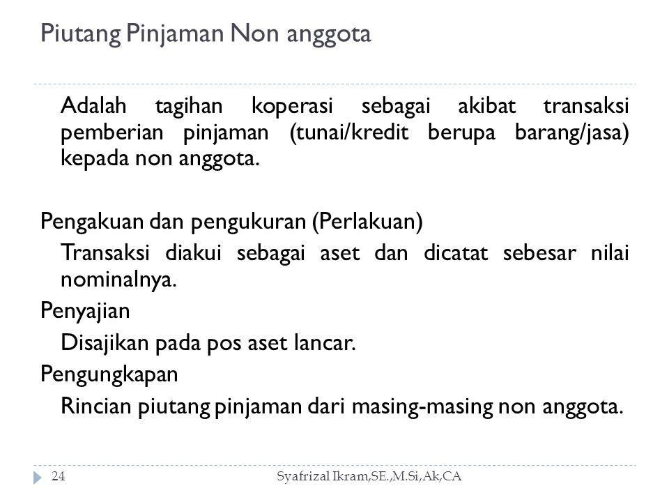Piutang Pinjaman Non anggota Syafrizal Ikram,SE.,M.Si,Ak,CA24 Adalah tagihan koperasi sebagai akibat transaksi pemberian pinjaman (tunai/kredit berupa barang/jasa) kepada non anggota.