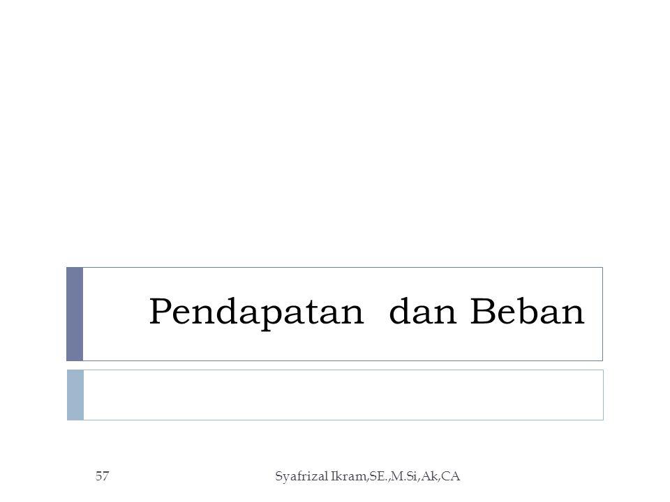 Pendapatan dan Beban Syafrizal Ikram,SE.,M.Si,Ak,CA57