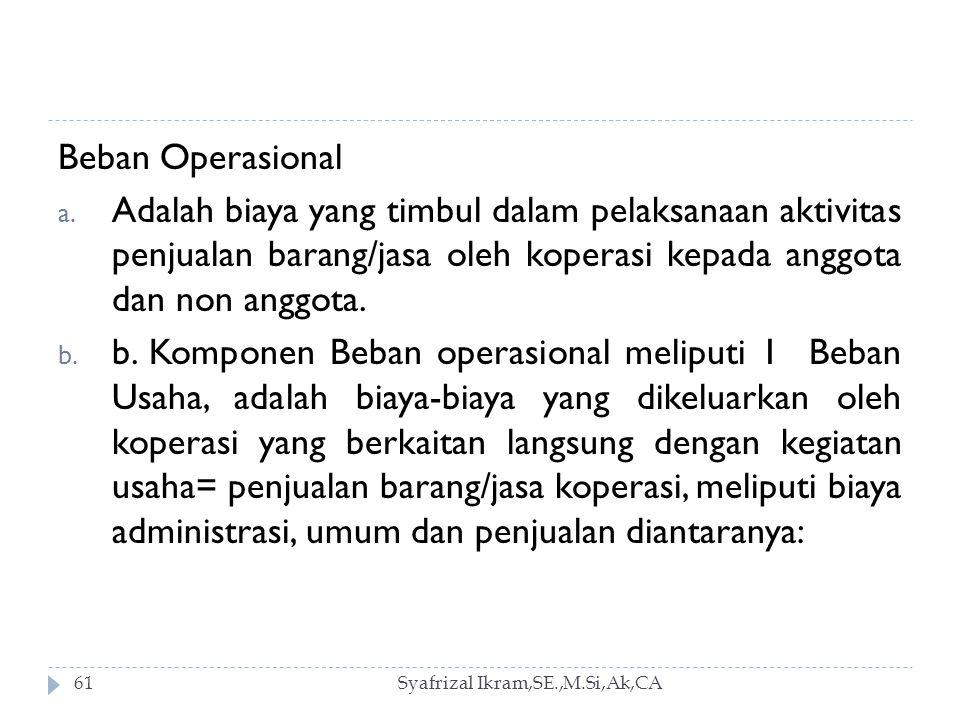 Syafrizal Ikram,SE.,M.Si,Ak,CA61 Beban Operasional a.