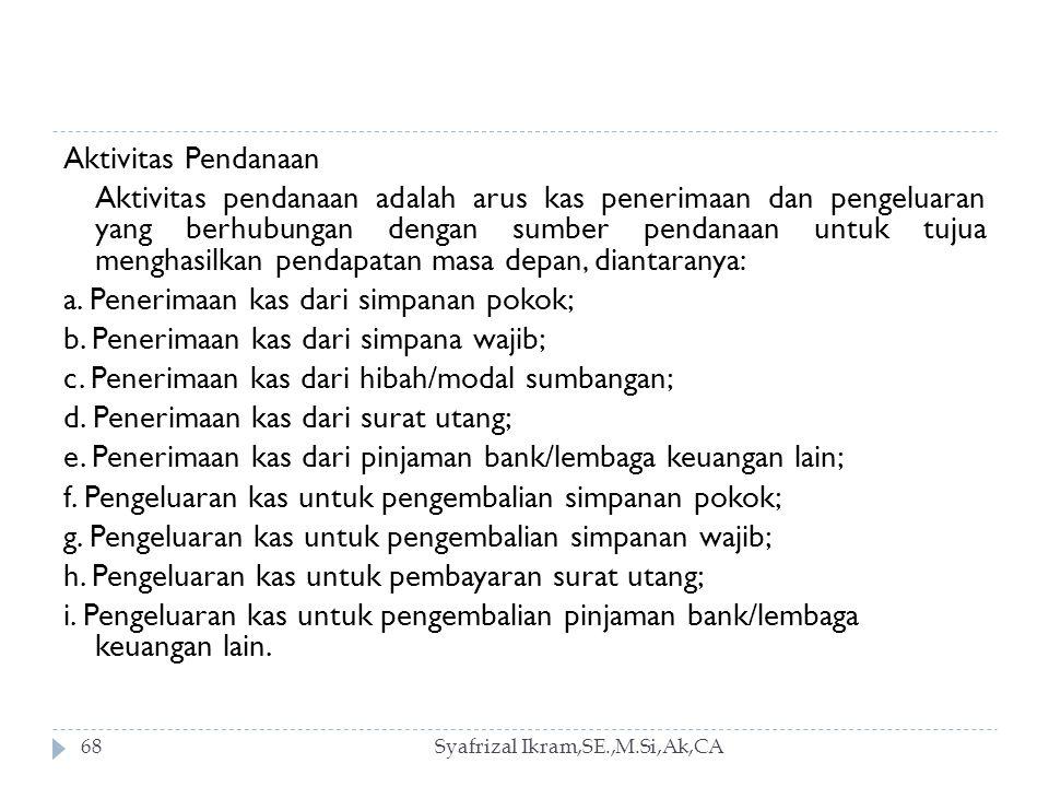 Syafrizal Ikram,SE.,M.Si,Ak,CA68 Aktivitas Pendanaan Aktivitas pendanaan adalah arus kas penerimaan dan pengeluaran yang berhubungan dengan sumber pendanaan untuk tujua menghasilkan pendapatan masa depan, diantaranya: a.