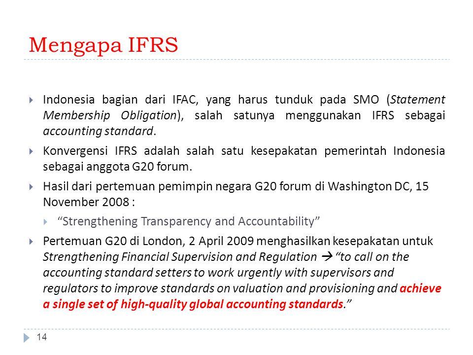 Mengapa IFRS 14  Indonesia bagian dari IFAC, yang harus tunduk pada SMO (Statement Membership Obligation), salah satunya menggunakan IFRS sebagai acc