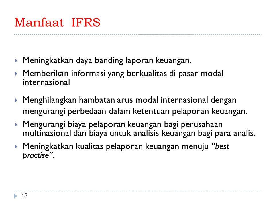 Manfaat IFRS 15  Meningkatkan daya banding laporan keuangan.  Memberikan informasi yang berkualitas di pasar modal internasional  Menghilangkan ham