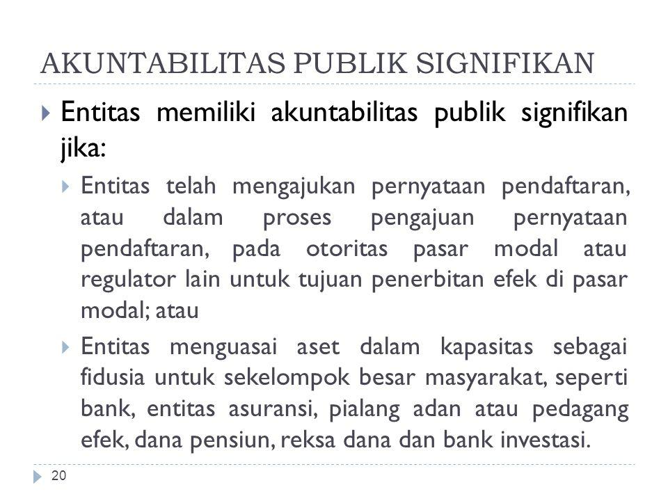 AKUNTABILITAS PUBLIK SIGNIFIKAN  Entitas memiliki akuntabilitas publik signifikan jika:  Entitas telah mengajukan pernyataan pendaftaran, atau dalam