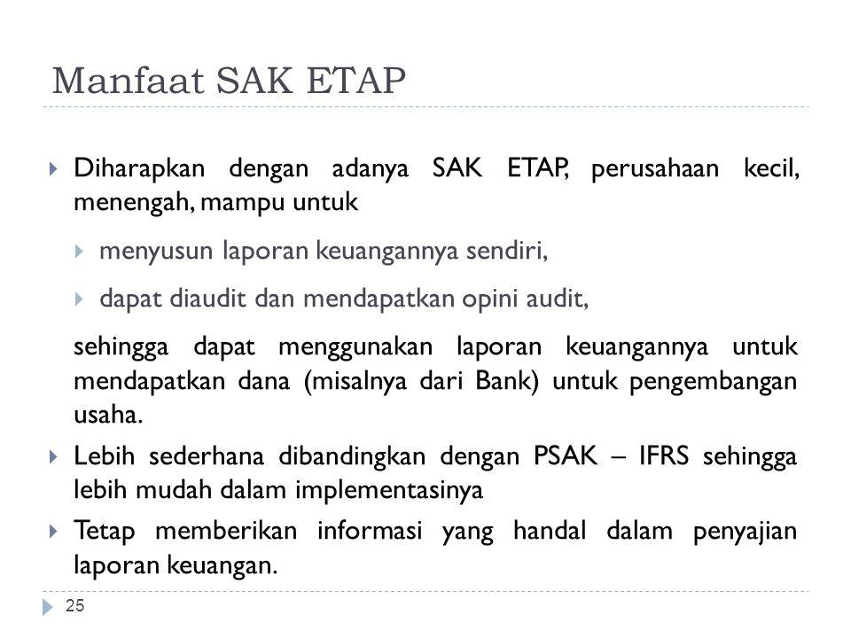 Manfaat SAK ETAP  Diharapkan dengan adanya SAK ETAP, perusahaan kecil, menengah, mampu untuk  menyusun laporan keuangannya sendiri,  dapat diaudit