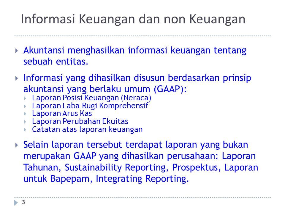 Informasi Keuangan dan non Keuangan  Akuntansi menghasilkan informasi keuangan tentang sebuah entitas.  Informasi yang dihasilkan disusun berdasarka