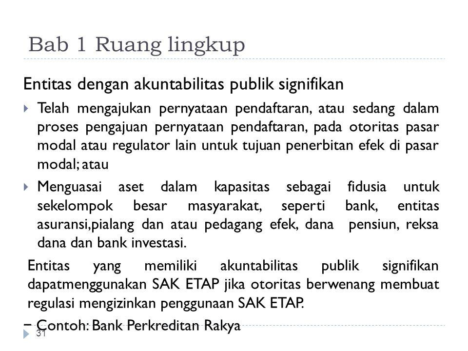 Bab 1 Ruang lingkup 31 Entitas dengan akuntabilitas publik signifikan  Telah mengajukan pernyataan pendaftaran, atau sedang dalam proses pengajuan pe